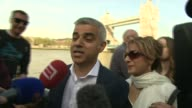 Local and Regional elections / London Mayoral election results roundup ENGLAND London EXT Sadiq Khan MP along through press throng towards City Hall...
