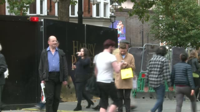 Local businesses stage protest outside Palace Theatre over disruptive roadworks ENGLAND London EXT Hoardings outside Palace Theatre Protesters...