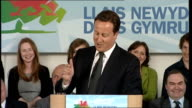Local elections / Alternative Vote referendum David Cameron speech in Wales WALES Portmeirian INT David Cameron MP along to applause and speech SOT...