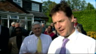 Nick Clegg campaigns in Stockport Nick Clegg along and into house/ various shots of Nick Clegg chatting with local Lib Dem party workers gathered in...
