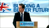 David Cameron speech in Darlington ENGLAND County Durham Darlington INT David Cameron MP speech SOT two of youngest members of House of Commons...
