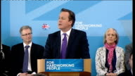 David Cameron speech launching Conservative campaign David Cameron MP speech SOT Great to be back in Nuneaton/ We're at the start of a campaign...