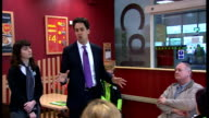 Ed Miliband visits ASDA supermarket in Greenhithe ASDA workers taking seats / Miliband being introduced SOT / Ed Miliband MP speaking to group of...