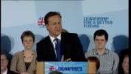 David Cameron campaign speech SCOTLAND Dumfries Easterbrook Hall PHOTOGRAPHY*** Ruth Davidson introducing Cameron SOT David Cameron MP SOT