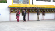 Locals Spinning Prayer Wheels As A Form Of Prayer, To Accumulate Merit And Wisdom At Chokhang Vihara Buddhist Temple In Leh, Ladakh