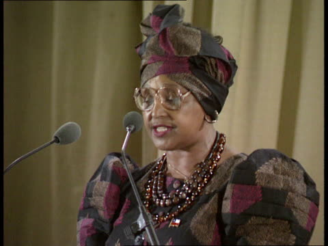 01 Location Unknown INT Winnie Mandela speech SOT / says pressure must be kept on S African govt in order to maintain momentum of change/ advocates...