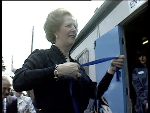 Location Unknown ITN LIB 5885 LACMS Then PM Margaret Thatcher with blue ribbon as prepares to open Tindale Enterprises 