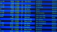 Lockdown of arrivals board at SeaTac Airport / Washington State