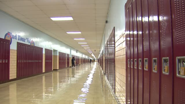WGN Lockers In School Hallway at Chicago Vocational Career Academy on September 25 2013 in Chicago Illinois