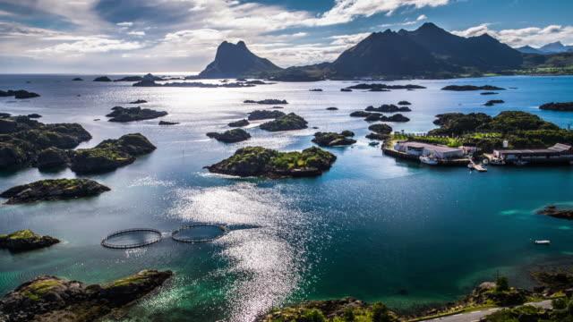 Lofoten Islands Coastline with small Archipelagos - Aerial footage, Norway