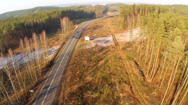 Logging clear cut and road -Aerial shot.