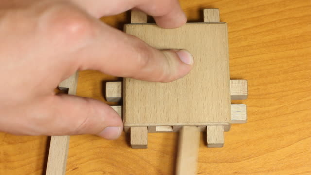 Logic toy on wooden table