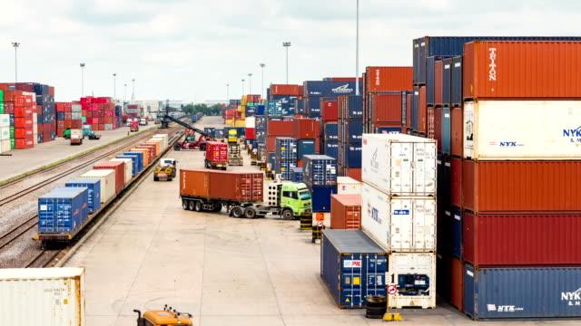 Logistica operazione contenitore nel cortile Time lapse railroad