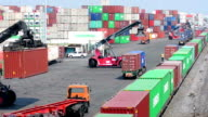 Logistics operation in railroad container yard.
