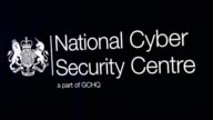 A logo is displayed on a television screen in the National Cyber Security Centre on February 14 2017 in London England The National Cyber Security...