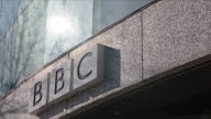 BBC logo on exterior of BBC Television Centre in White City London Available in HD