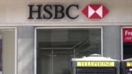 HSBC logo on front of HSBC branch in Baker Street central London