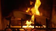 CU, Logs burning in fireplace, Atlanta, Georgia, USA
