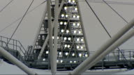 General views of Olympic Park construction site ENGLAND London Stratford Olympic site Olympic stadium/ GVs Lighting towers/ various shots of stadium/...