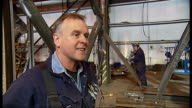 Plans for Britain's tallest sculpture ENGLAND Lancashire Bolton INT Reporter to camera SOT Steel fabricators working to produce parts that will go to...