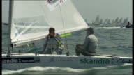 Report on British Olympic sailing hopefuls Andrew Simpson and Iain Percy T09061105 Dorset Weymouth General views Surrey sailor Andrew Simpson and...