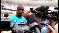 'Two years to go' event Michael Johnson at Olympic Stadium Michael Johnson speaking to press continues SOT Great for athletes to represent their...