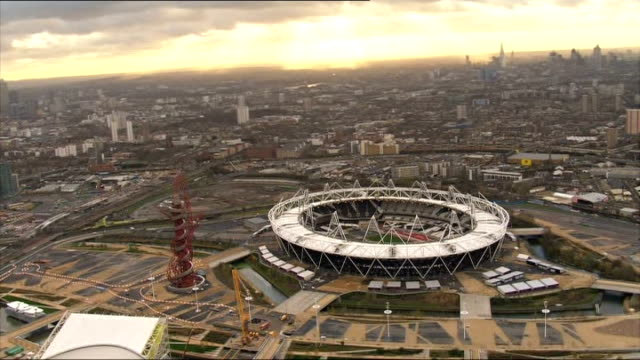 more uncertainty on it's future LIB ENGLAND London Stratford VIEWS / AERIALS of Olympic stadium and ArcelorMittal Orbit observation tower 'London...