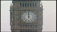 First anniversary ENGLAND London Westminster EXT Big Ben striking 12 o'clock midday Aldgate Station Back View People standing in silence at Aldgate...
