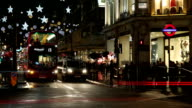 London at night. Oxford Circus crossroad.Time lapse