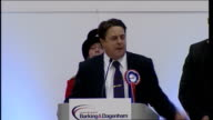 London Barking INT Nick Griffin speech SOT Hundreds of people have told me that they believed that this was Barking's last chance / Labour Party...