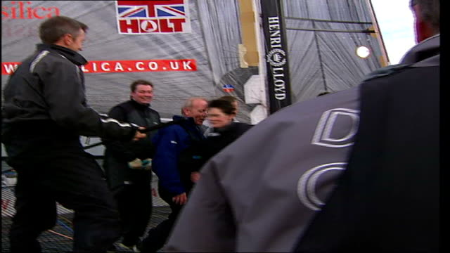 London Boat Show 2007 Dame Ellen Macarthur along getting off boat DISSOLVE TO **Macarthur interview partly overlaid SOT**