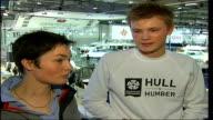 London Boat Show 2007 Dame Ellen Macarthur interview alongside unidentified male SOT Sam is about to sail around the world in a clipper race it's an...