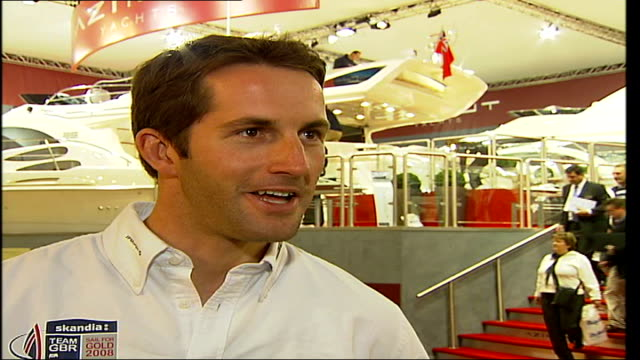 London Boat Show 2007 INT Ben Ainslie interview SOT On how public interest in sailing has increased due to Dame Ellen Macarthur and Olympic success