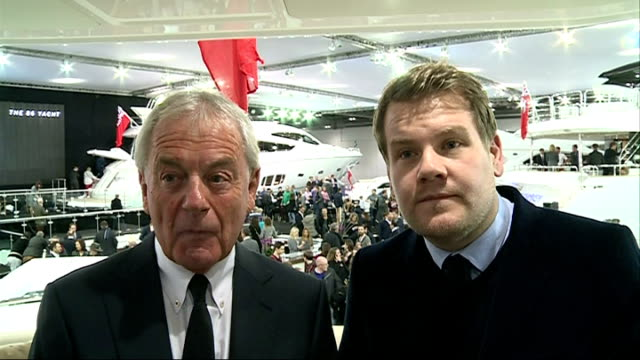 London Boat Show 2014 James Corden and Robert Braithwaite interview SOT People on board boats and looking around at Boat Show / James Corden on boat...