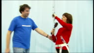 London Excel Arena INT Reidy attempting 'Kite surfing' in harness and Andrew Fisher interview SOT