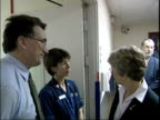 Hewitt visits hospital ENGLAND London Hampstead Royal Free Hospital INT Patricia Hewitt MP meeting hospital staff / Hewitt cleaning hands with...
