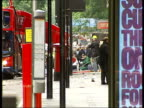 Bus bomb Tavistock Square Police on motorbikes entering cordoned off area Ambulance arriving LS bus with paramedic crouched on ground beside casualty...