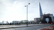 London Bridge rush hour with view on Shard, time lapse