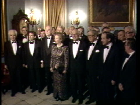 **** RUSHES NOT KEPT London Carlton Club INT MS PM Margaret Thatcher wearing evening dress husband Dennis members of cabinet including Geoffrey Howe...
