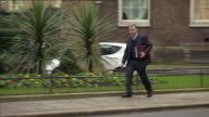 London Downing Street EXT Greg Clark MP arriving / Michael Fallon MP arriving / Theresa May MP out of car and arriving / Sajid Javid MP arriving /...