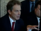 London Downing Street INT GV Cabinet meeting in progress CMS Tony Blair MP speaking at meeting MS Cabinet ministers including John Prescott MP Alan...