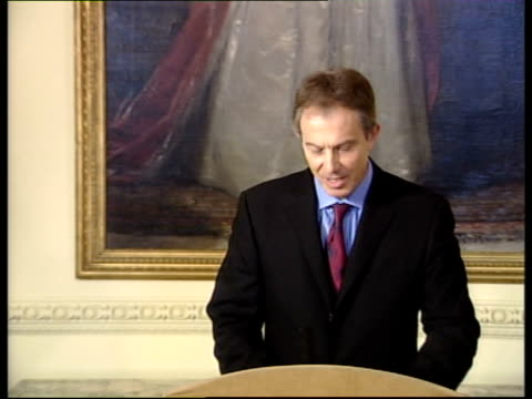 London Downing Street Tony Blair MP along to podium for press conference Tony Blair MP press conference SOT Saddam has gone from power he won't be...