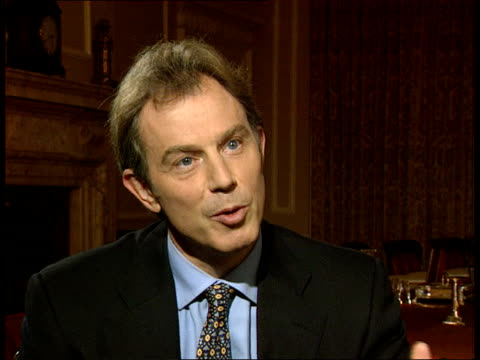 London Downing Street Number 10 INT Prime Minister Tony Blair MP interview SOT Talks of his support for Frank Dobson to be London Mayor / Unions in...