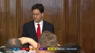 SPECIAL 1230 1330 London Ed Miliband MP applauded by Labour Party workers as into press conference to make resignation statement Ed Miliband speech...