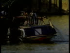 London EXT GV Dredger Bowbelle moored at side of river GVs Wreckage of Marchioness being raised from Thames