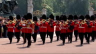 London EXT Various shots of people sunbathing in park and rowing on lake T02070946 Grenadier Guards band playing at Buckingham Palace SOT Grenadier...