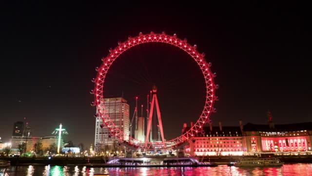 London eye at night,Time lapse.