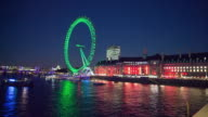 London Eye observation wheel and River Thames at night.