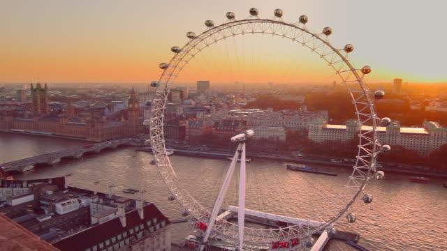 London Eye Observation Wheel at sunset.