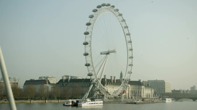 London Eye, Thames river and Westminster Bridge on sunny day